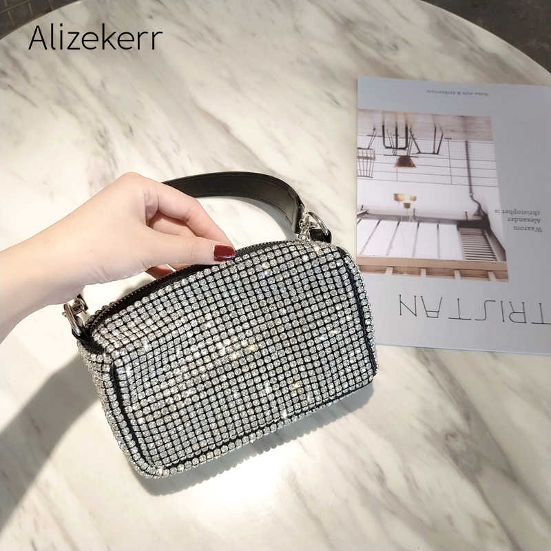 Diamantes de Bling Noite Bolsa Das Mulheres Novas Coreano de luxo Travesseiro Macio Tote Dinner Party Ladies Crossbody Purse Clutch Bolsos Mujer