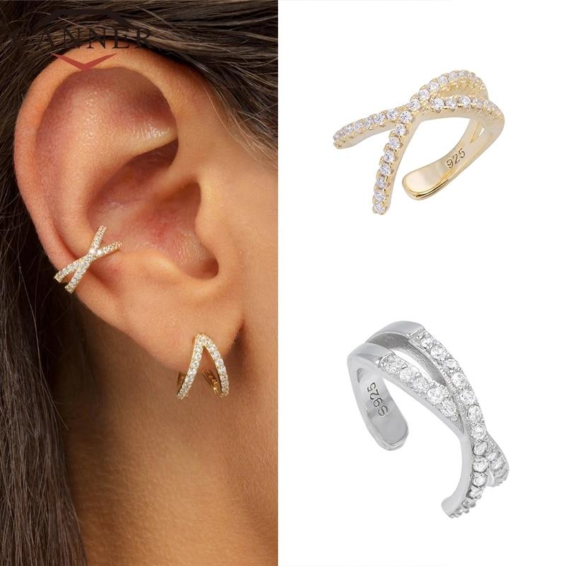 925 Sterling Silver Ear Cuff For Women 1 pcs Charming Zircon Clip On Earrings Gold earcuff Without Piercing Earrings Jewelry
