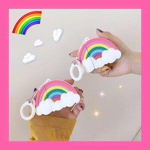 Чехол Rainbow AirPods для AirPods 2/1, силиконовый чехол для наушников с мультяшным рисунком облаков, защитный чехол для air pods 2