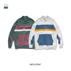 Image 5 - INFLATION Men High collar Sweatshirt Block color Mens Sweatshirt  Pouch Pocket Loose Fit Mens Streetwear Sweatshirt 9645W