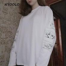 Camisa de manga comprida de manga comprida de harajuku com decote em v camiseta de hip hop