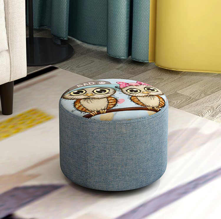 Creative Fabric Stool Round Upholstered Footstool for Living Room  Sofa Small Bench Home Simple Ottoman seater Furniture