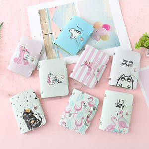 Cute Women Business Card Holder Case Book Cartoon Leather Bank Credit Card Clip Wallet Cardholder Flamingo ID Card Bag 20 Bits(China)