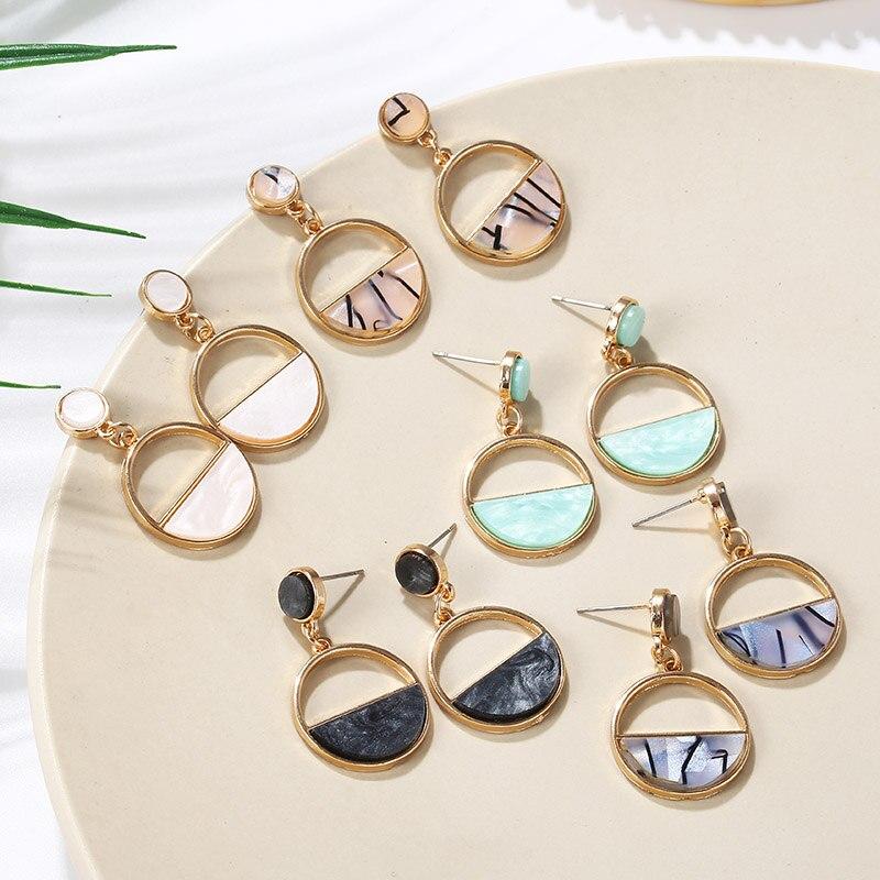 Simple Round Kroean Drop Earrings For Women Gold Black/White Enamel Statement Earrings 2019 Fashion Jewelry Pendientes Mujer