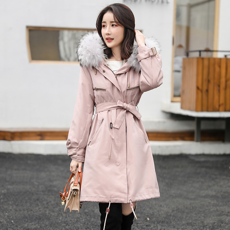 Real Pakra Fur Coat Female Real Rabbit Fur Liner Long Coats 2020 Winter Jacket Women Raccoon Fur Collar Warm Parkas MY S
