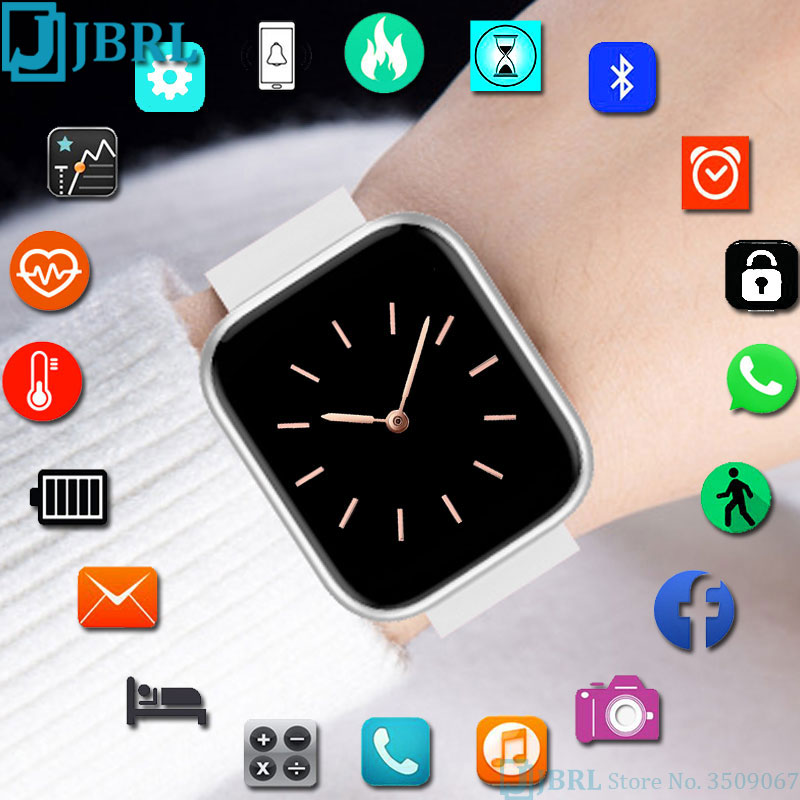 Full Touch Smart Watch Women Men Smartwatch For Android IOS Electronics Smart Clock Fitness Tracker Square Bluetooth Smart-watch