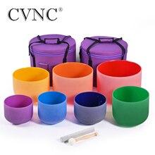"""CVNC 6 """" 12"""" Набор из 7 Чакр матового кварца Поющая чаша включает в себя 2 сумки для переноски"""