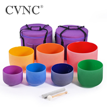 "CVNC 6"" 12"" Set of 7pcs Chakra Frosted Quartz Crystal Singing Bowl Include 2pcs Carry Bags"