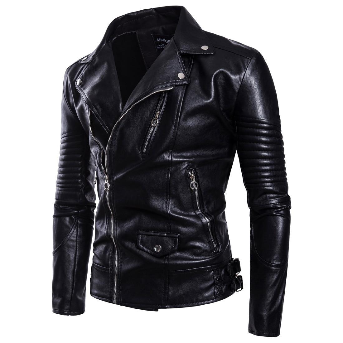 Fashion Ouma 2018 Autumn New Style Men Fold-down Collar Locomotive Leather Coat Men'S Wear Foreign Trade Leather Jacket B029