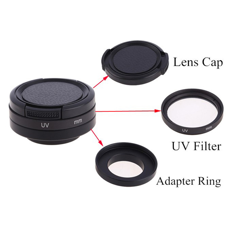 10pcs//lot 3 In1 37 40.5 43 46 49 52 55 58 62 67 72 77 82 UV Filter 82mm ND UV CPL Filter Adapter Ring+ Lens Cap for Gopro HD Hero 4//3 Plus // 3//3+