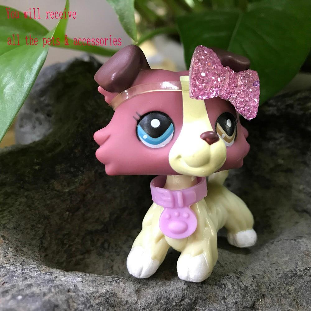 2pcs Plum Cream Shorthair Cat #391 Littlest Pet Shop LPS #1262 Collie Dog Puppy