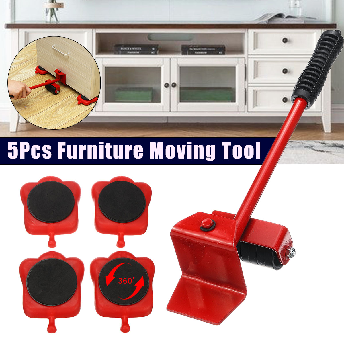 Cat Paw Heavy Duty Furniture Lifter Mover Transport Set 4 Mover Roller+1 Wheel Bar For Lifting Moving Furniture Helper