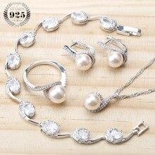פרל 925 כסף כלה תכשיטי סטי עגילים לנשים חתונה פניני תכשיטי צמיד טבעת שרשרת תליון סט