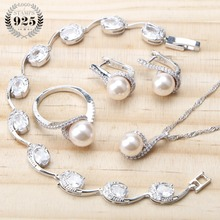 Conjunto de joyas de plata de ley 925 con perlas para mujer, conjunto de pendientes, Joyas de perlas de boda, pulsera, anillo, colgante, collar
