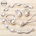 Perle 925 Sterling Silber Braut Schmuck Sets Ohrringe Für Frauen Hochzeit Perlen Schmuck Armband Ring Anhänger Halskette Set