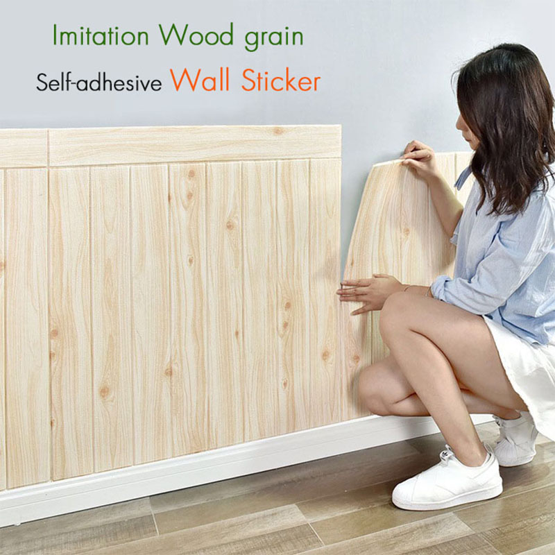 3D Imitation Wood Wall Stickers Living Room Upholstered Walled Wood Wainscoting Ceiling Self-adhesive Wallpaper