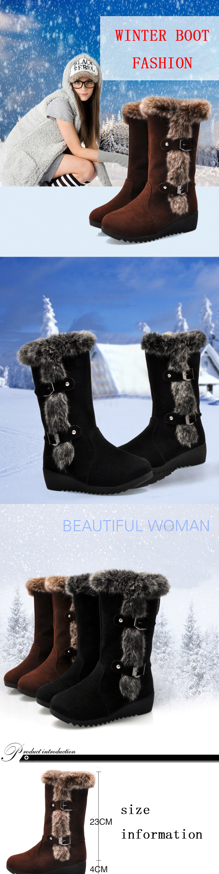 Women Winter Boots Flock Winter Shoes Ladies Fashion Snow Boots Shoes Thigh High Suede Mid-Calf Boots 17