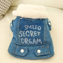 2019 Pet Dog Clothes Winter Warm Cotton Jacket Cute Letter Denim Coat Puppy Chihuahua Clothing For Small Dogs Costume Product