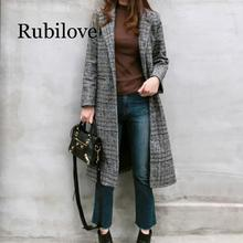 Rubilove 2019 Spring Autumn Womens Wool  Plaid Coat New Fashion Long Woolen Slim Type Female Winter Jackets Ou