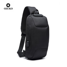 Ozuko New Style Chest Pack USB Anti-Theft Mens Korean-style Casual Shoulder Bag Waterproof Oxford Cloth