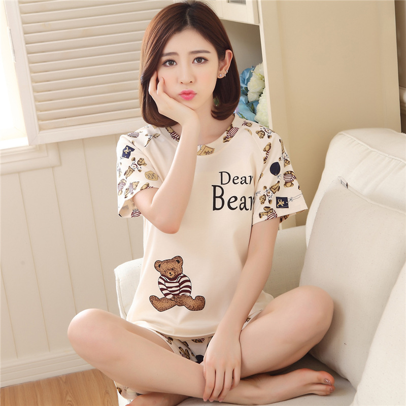 Spring And Summer Leisure Style Love Bear Doll Bear Beige Bear Pajamas Women's Home Clothing Set  Pajamas For Women
