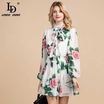 LD LINDA DELLA Elegant Designer Holiday Summer Dress Women's Bow collar elastic waist Rose Floral Print Chiffon Belted Dress