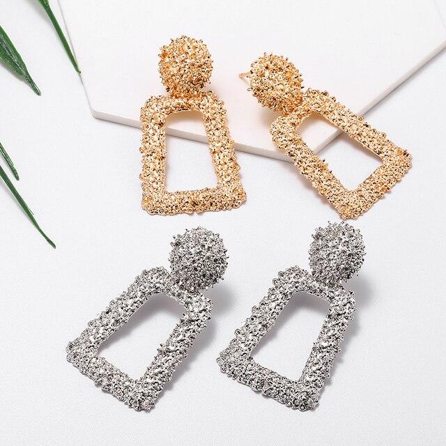 Vintage Earrings Large for Women Statement Earrings Geometric Gold Metal Pendant Earrings Trend Fashion Jewelry 3