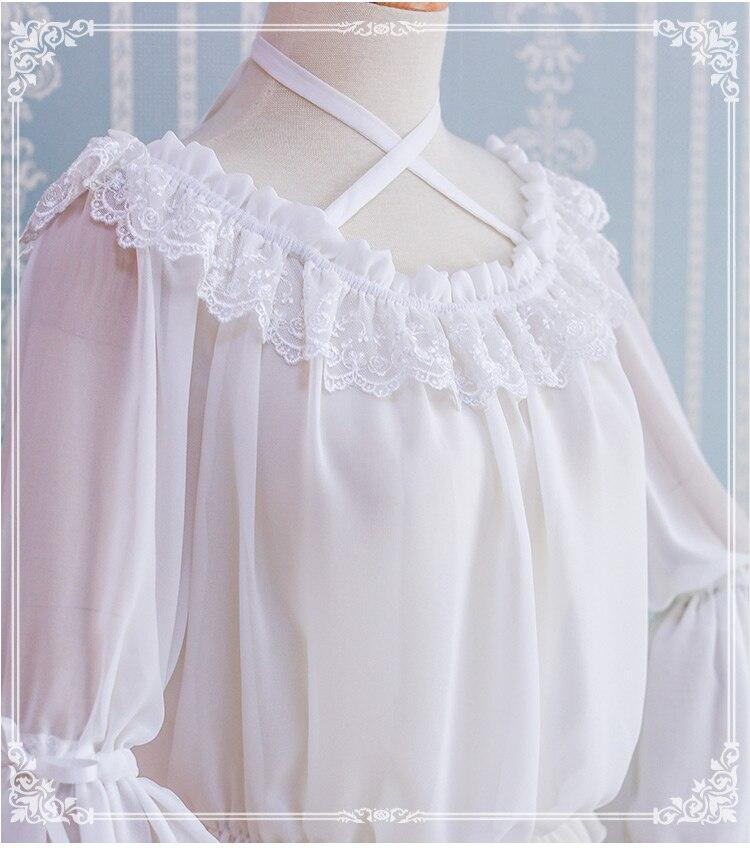 Princesse douce lolita chemise à l'origine automne quotidien en mousseline de soie chemise fille flare manches Top Lolita avec slash collier chemise HWK125