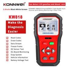 KONNWEI KW818 Maggiore OBDII ODB2 EOBD Auto Diagnostico Scanner 12V Battery Tester di Controllo Del Motore Del Motore Automotive Strumento di Lettore di Codice