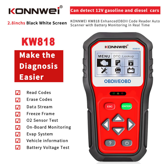KONNWEI KW818 escáner de diagnóstico de coche OBDII ODB2, probador de batería de 12V, herramienta para comprobar el motor del lector de código automotriz