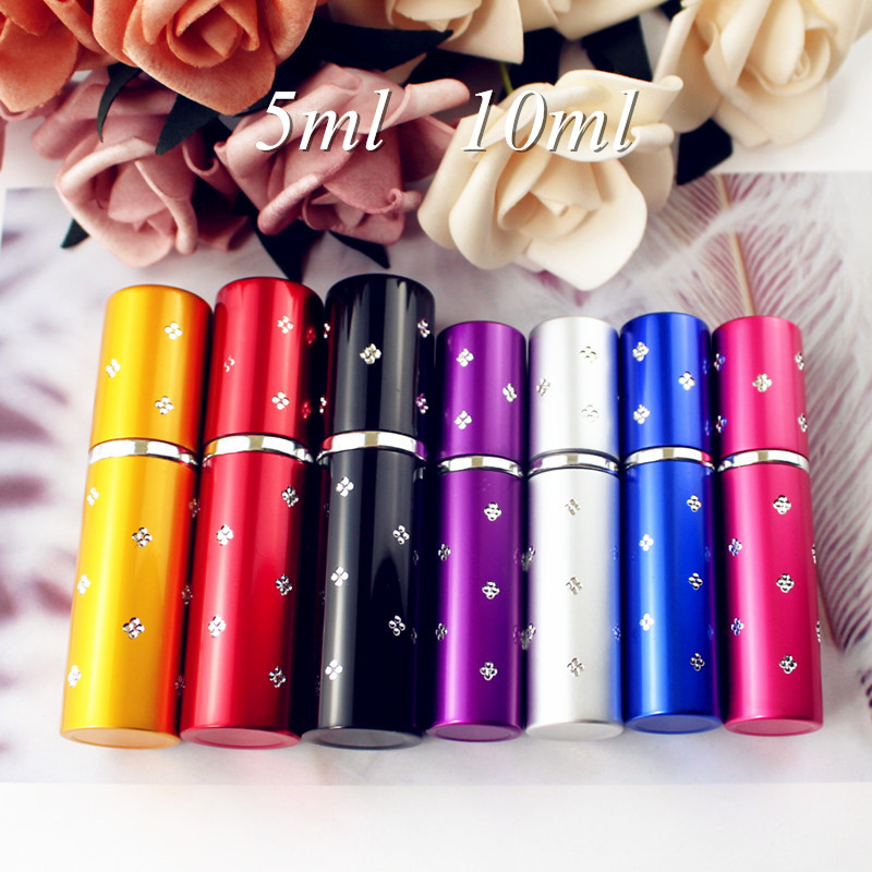 1PC 5ml 10ml Mini Portable Perfume Bottle Travel Refillable Empty Perfume Atomizer Metal Spray Scent Pump Case