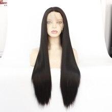 MRWIG Lange Rechte Bruin Blond Zwart Synthetische Lijmloze Front Lace Pruik Middelste Deel Natuurlijk Ogende