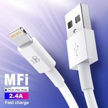 D8 MFi 2.4A Téléphone Chargeur Câble de Données 1/1.5/2m USB À 8 Broches De Charge Rapide Kable Cordon Pour iPhone 12 11 iPad Pour ios 14 13 Ci-dessus