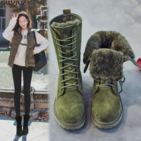 SWYIVY Genuine Leather Snow Boots Ladies Wedge Shoes Woman 2019 Warm Women's Winter Shoes Pigskin Plush Ladies Platform Booties