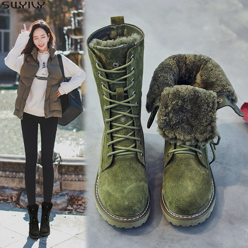 SWYIVY chaussures compensées en cuir véritable bottes de neige femme bottes d'hiver 2019 hiver chaussures pour femmes cochon Split dames plate-forme chaussons