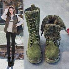Zapatos de cuña SWYIVY botas de nieve de cuero genuino mujer botas de invierno 2019 zapatos de mujer de invierno cerdo Split señoras botas de plataforma