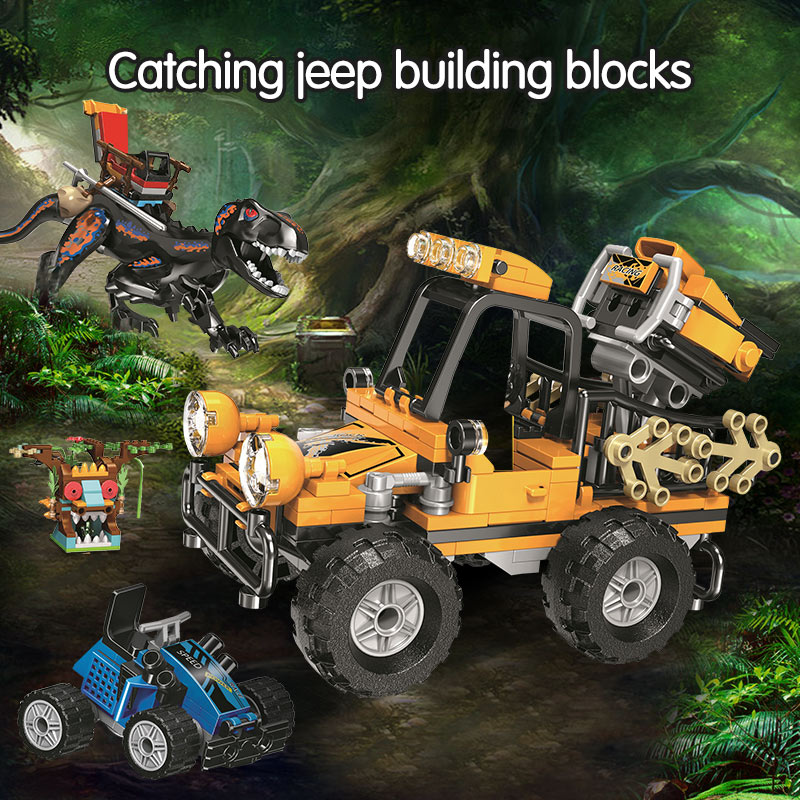 Winner Dinosaur World Catching Jeep Building Blocks