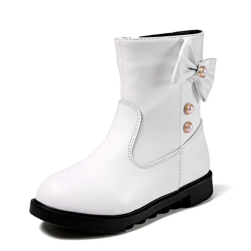 Dolakids Winter nieuwe kinderen leren laarzen Meisje prinses mid-boot baby warme laarzen met kant rits meisjes strik sneeuw laarzen 3-16