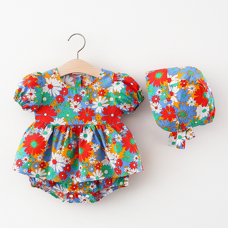 Summer Toddler Newborn Infant Baby Girls Dresses Clothes Cute Puff Sleeve Flower Print Romper Hat Cap Outfits Baby's Clothing
