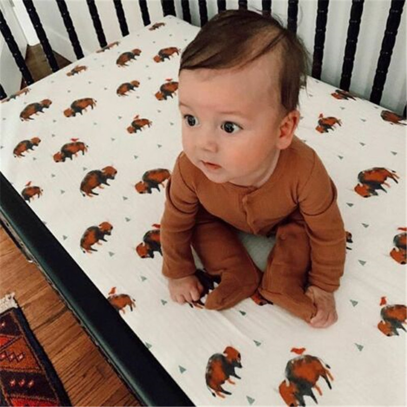 Newborn Baby Girl Brown Footies Single Breasted Baby Boy Button Jumpsuit Playsuit Footies Clothes Outfits
