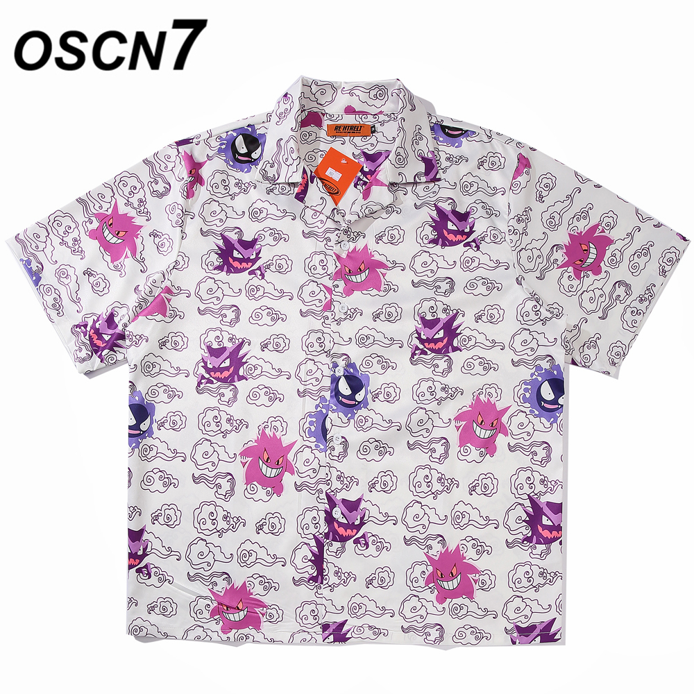 OSCN7 Casual Printed Short Sleeve Shirt Men Street 2020 Hawaii Beach Oversize Women Fashion Harujuku Shirts For Men A02