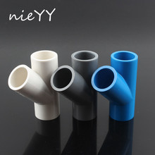 2pcs 20mm PVC Oblique Tee Connector 45 degree Tilted Three Way Joints Water Supply Pipe Fittings Garden Irrigation Pipe Adapter