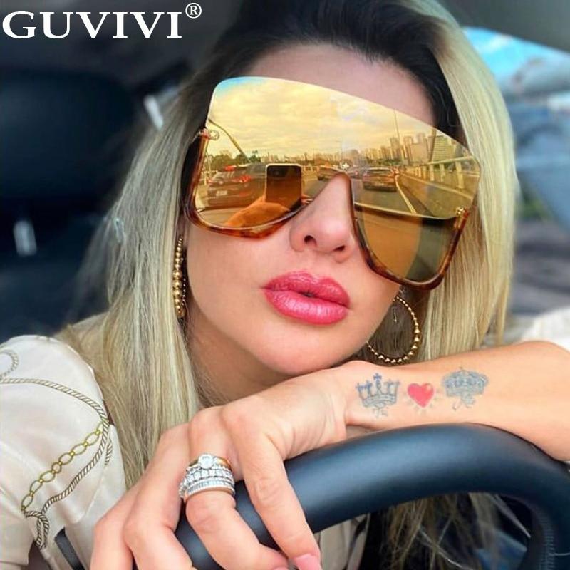 Oversized Sunglasses Women 2020 One Piece Goggle Sunglasses Men Luxury Brand Designer Gradient Mask Sunglasses Eyewear Fashion