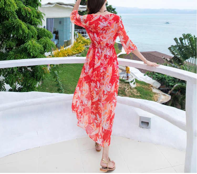 פרחוני חדש הדפסת סקסי V צוואר קיץ שמלת נשים פיצול בוהמי שמלות מפלגה אלגנטית חוף שמלת נקבה Vestidos LX1505 es