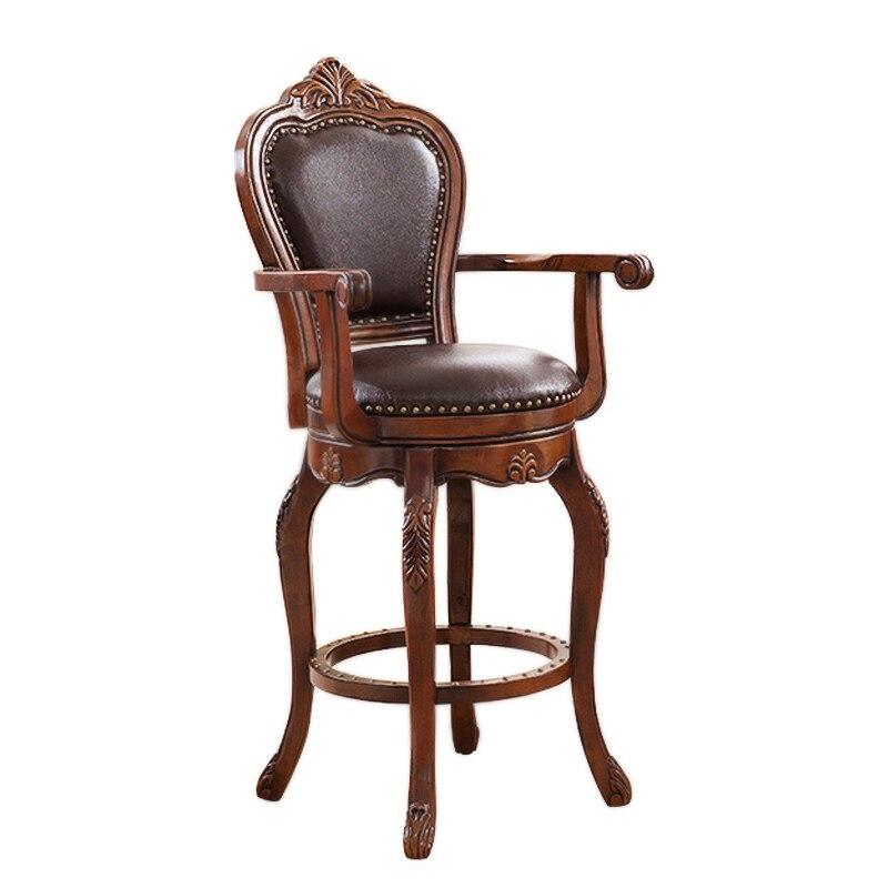 European Style Bar Chair American Solid Wood Back Chair Bar Chair Swivel Chair Leather Back Chair Bar Stool
