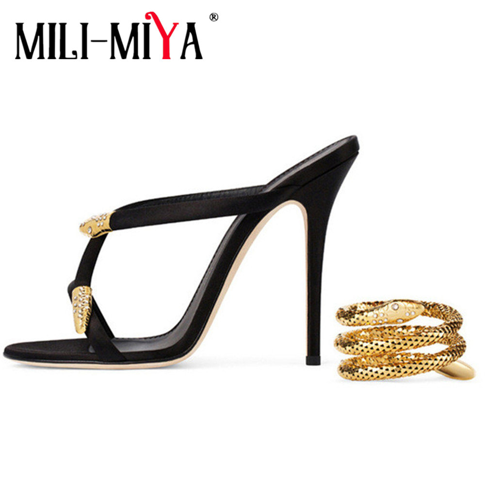 MILI-MIYA New Arrival Gold Snake Ankle Strap Gladiator Sandals Sexy Open Toe High Heel Shoes Women Fashion Wedding Party Shoes