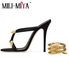 MILI-MIYA New Arrival Gold Snake Ankle Strap Gladiator Sandals