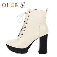 Женские зимние ботинки до середины икры oleka в римском стиле