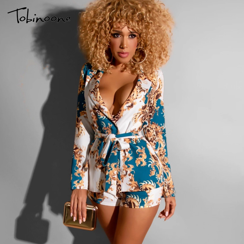 Tobinoone Autumn High Waist Vintage Women Top And Pants Set Long Sleeve Sashes Sexy Two Piece Set Solid Deep V Neck Women Set