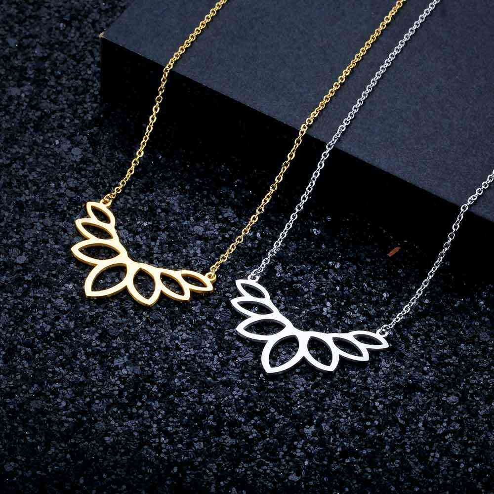 100% Real Stainless Steel Hollow Lotus Necklace Amazing Design Special Gift Fashion Pendant Necklaces Unique Jewelry Necklace